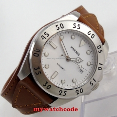 43mm Parnis white dial Sapphire Glass brown strap miyota Automatic mens Watch602