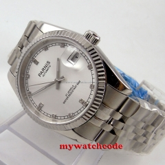 36mm parnis silver dial diamond marks miyota automatic Luxurious mens watch P599