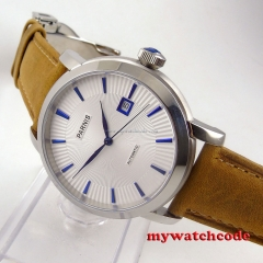 41mm parnis white dial blue marks 21 jewels miyota 8215 automatic mens watch 554