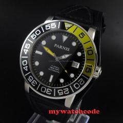 42mm Parnis black dial date window Sapphire glass Miyota automatic mens watch605