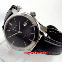 41mm parnis black dial date deployment clasp miyota 8215 automatic mens watch
