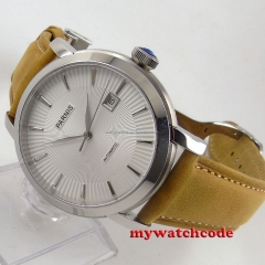 41mm Parnis white dial cow leather strap Sapphire Glass Automatic mens Watch616