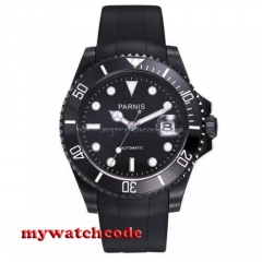 40mm Parnis black dial sapphire glass 21 jewels miyota Automatic mens Watch P629