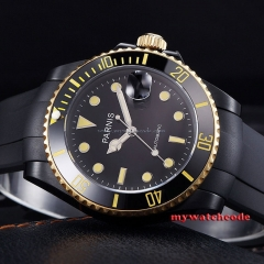 40mm Parnis black dial PVD case sapphire glass miyota Automatic Mens Watch P626