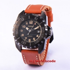 45mm parnis black dial PVD case 21 Jewels miyota automatic mens watch P639