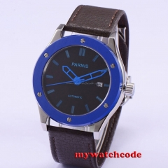 43mm Parnis black dial blue PVD case automatic leather mens watch P650