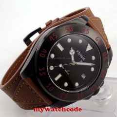 43mm Parnis black dial PVD case Sapphire Glass miyato Automatic mens Watch P391