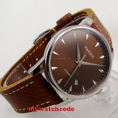 38mm parnis coffee dial date window case miyota automatic mens womens watch P583