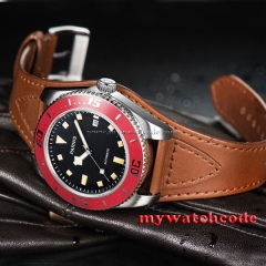43mm Parnis black dial red bezel date miyota automatic diving mens watch 591C