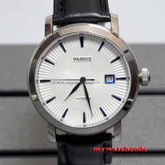 41mm Parnis white dial blue marks date Sapphire miyota Automatic mens watch P554