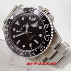 40mm Parnis black dial GMT Sapphire glass Ceramic bezel automatic mens watch 688