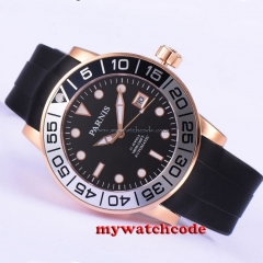 42mm Parnis rosegold case black dial Sapphire glass 21 jewels Miyota automatic mens watch 601