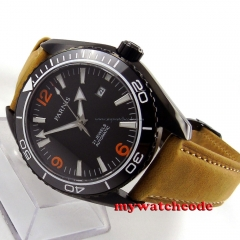 45mm Parnis black dial orange marks PVD Sapphire Glass Automatic mens Watch 691
