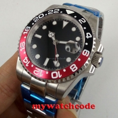 40mm parnis black sterile dial GMT sapphire glass date automatic mens watch P698