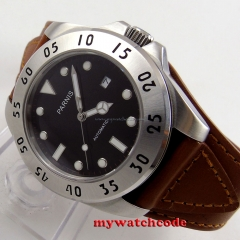 43mm Parnis black dial Sapphire Glass date miyato Automatic mens Watch P428