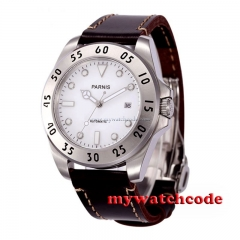43mm Parnis white dial Sapphire Glass 21 jewels miyota Automatic mens Watch P602