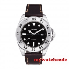 43mm Parnis black dial Sapphire Glass deployment clasp Automatic mens Watch 428B