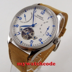 43mm parnis white dial power reserve date ST 2542 automatic mens watch P13B