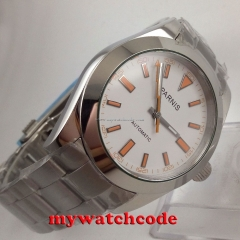 40mm parnis white dial sapphire glass automatic miyota movement mens watch P201