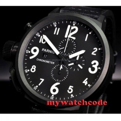 50mm Parnis black dial PVD case full Chronograph Lefty Crown mens Watch P715