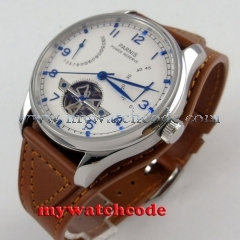 43mm parnis white dial power reserve brown leather strap automatic mens watch 13