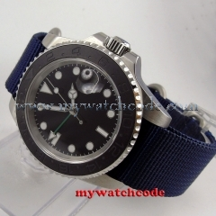 40mm parnis black GMT ceramic bezel  sapphire crystal automatic mens watch407