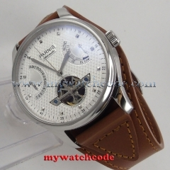 43mm parnis white dial date window power reserve ST automatic mens watch413