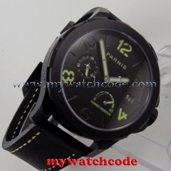 44mm Parnis black dial PVD Sapphire glass date ST Automatic Men's Watch 770