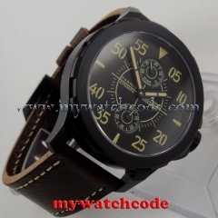 44mm Parnis black dial Sapphire glass PVD ST 2542 Automatic Men's Watch 772
