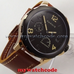44mm Parnis black dial PVD Sapphire glass date window Automatic Men's Watch P769