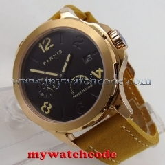 44mm Parnis black dial rose golden Sapphire glass date Automatic Mens Watch P773
