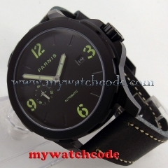 44mm Parnis black dial PVD case Sapphire glass date Automatic Mens Watch P780B