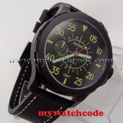 44mm Parnis black dial red GMT PVD case Sapphire glass ST Automatic Mens Watch P777