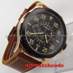44mm Parnis black dial Sapphire glass GMT ST 2557 Automatic Men's Watch 775