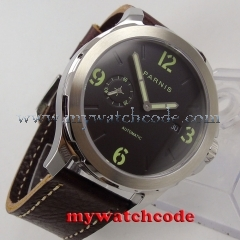 44mm Parnis black dial steel case Sapphire glass date Automatic Mens Watch P779