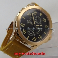 44mm Parnis black dial rose gold case Sapphire glass ST2542 Automatic Mens Watch