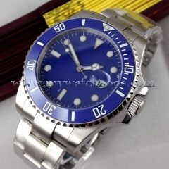 43mm parnis blue dial SUB Ceramic Bezel sapphire glass automatic mens watch P518