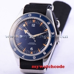 41mm debert blue sterile dial date sapphire glass miyota Automatic mens Watch 86