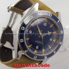 41mm debert blue sterile sandwich dial miyota leather Automatic mens Watch 86B