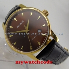 38mm Parnis coffee dial yellow golden case plated miyota automatic mens watch823