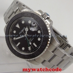 40mm Parnis black dial Sapphire glass date window GMT automatic mens watch P875