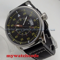 44mm planca black dial date window miyota 8215 automatic movement mens watch