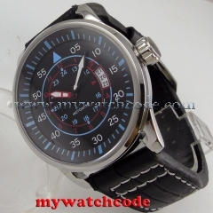 44mm planca black dial blue makrs date miyota 8215 automatic movement mens watch