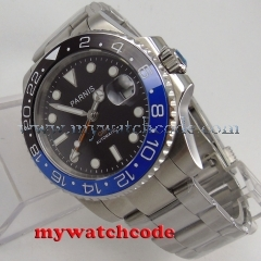 40mm Parnis black dial Sapphire glass GMT date window automatic mens watch P877 code