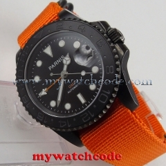 40mm parnis black dial GMT PVD case sapphire crystal automatic mens watch P529