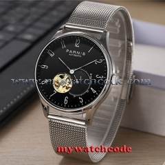 42mm Parnis black dial Sapphire glass golden Miyota automatic mens watch P879