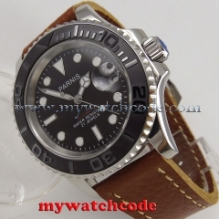 41mm Parnis black dial luminous Sapphire glass miyota automatic mens watch P888