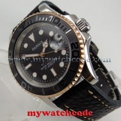 41mm Parnis black dial Sapphire glass Ceramic bezel miyota automatic mens watch
