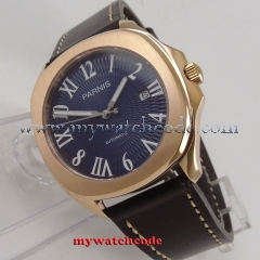 40mm Parnis blue dial Sapphire rose golden case Miyota automatic mens watch P891