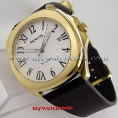40mm Parnis white dial Sapphire golden case Miyota 821A automatic mens watch 892